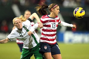 Alex Morgan struck three times in the United States' 5-0 win over Ireland Wednesday night.