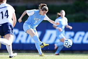 North Carolina's Kealia Ohai scores the game's first goal in the second minute against Penn State on Sunday.