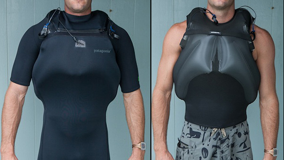 Given the size and power of surf that people are paddling into these days, devices like Patagonia's new PSI vest could be a lifesaver.