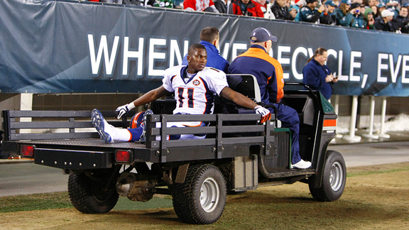 McKinley is carted to the locker room after being injured in December 2009.