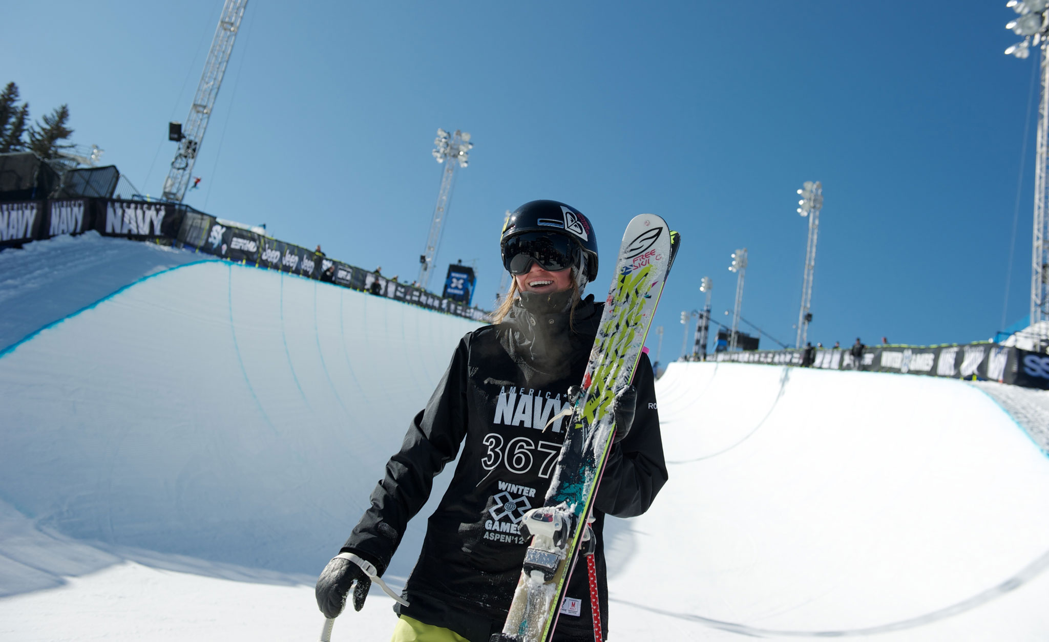 Brita Sigourney at the bottom of the Winter X Games Aspen SuperPipe.