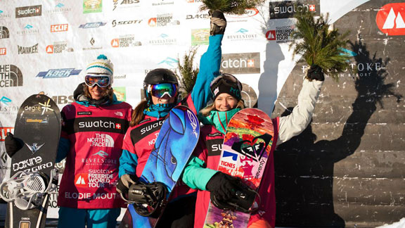 The women's snowboard podium in Revelstoke, led by American Shannan Yates.