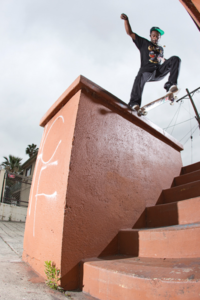Keelan Dadd switch crooked grinds in in Los Angeles.