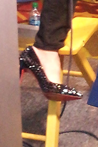 Danica Patrick flashed a pair of Christian Louboutin stilettos during Day 1 of the NASCAR media tour.