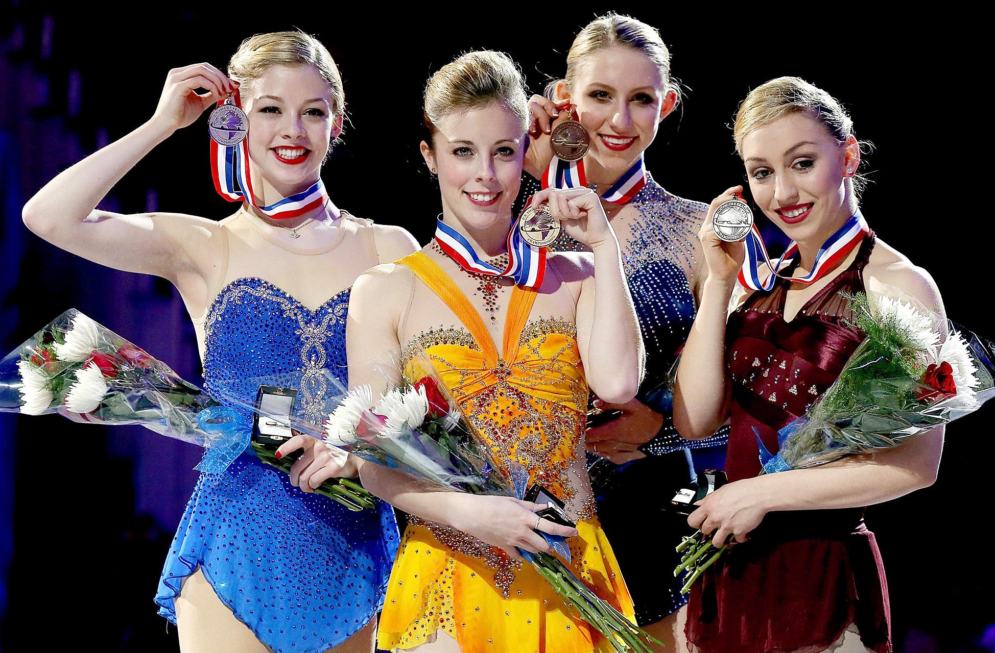 Gracie Gold, Ashley Wagner, Agnes Zawadzki and Courtney Hicks