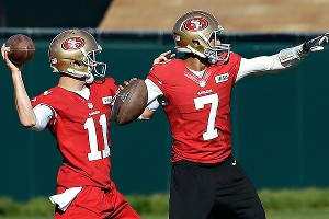 San Francisco 49ers quarterbacks Alex Smith (11) and Colin Kaepernick (7) practiced side-by-side last week. Smith says he hasn't thought about his future beyond the Super Bowl.
