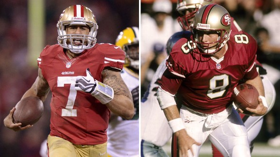 The Quest for Six slogan tries to tie together fans of  Colin Kaepernick with the tradition of Steve Young's teams.