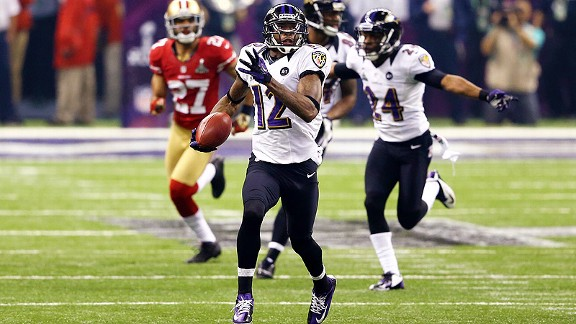 Jacoby Jones' two big touchdowns helped the Ravens to a 28-6 edge.