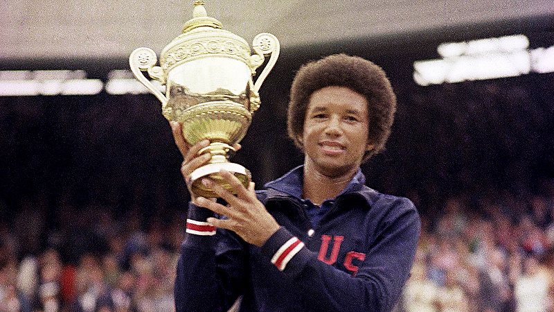 Arthur Ashe upset defending Wimbledon champion Jimmy Connors 6-1, 6-1, 5-7, 6-4 in the 1975 final.