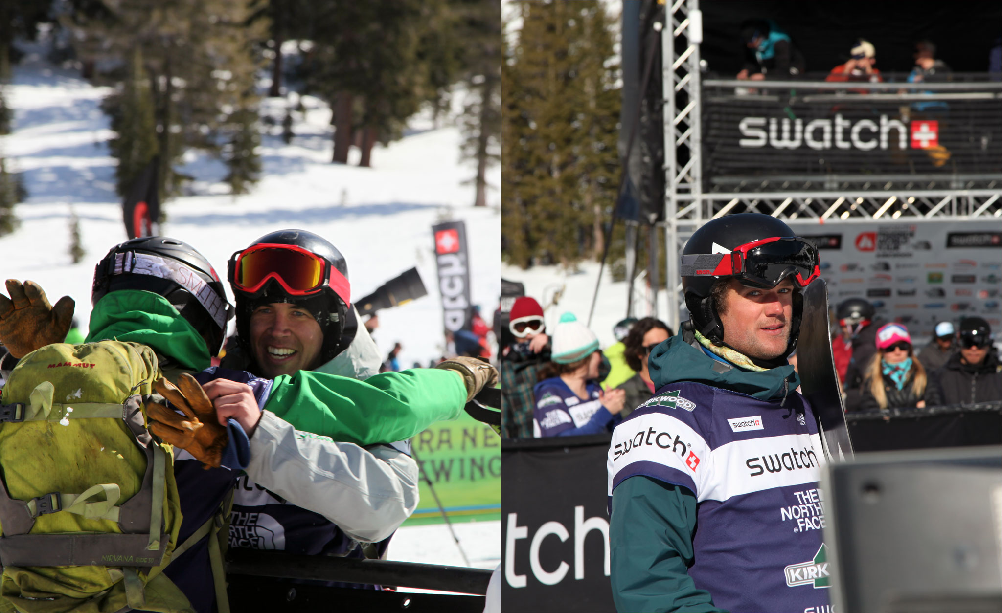Lars Chickering-Ayres, left, and Ryland Bell celebrate their wins at Kirkwood, Calif.