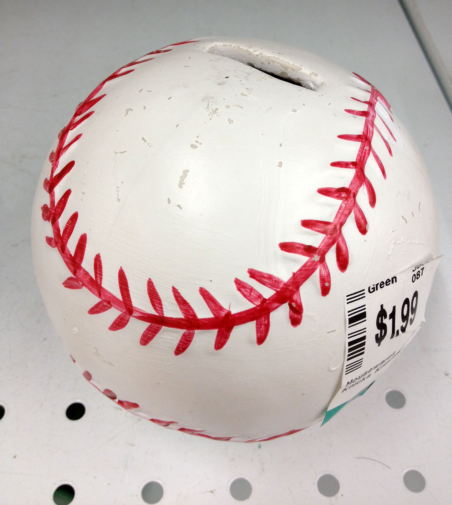Baseball Piggy Bank: $2