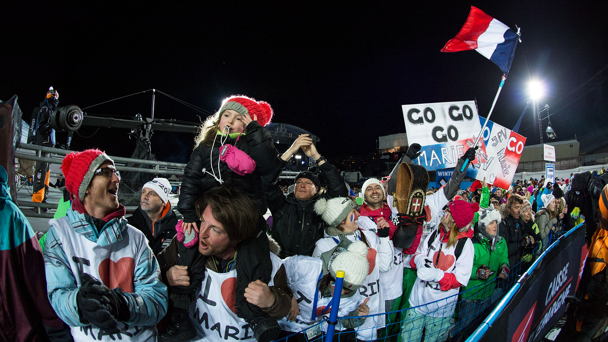 Martinod's family and fans came out in force to cheer her on Tignes.