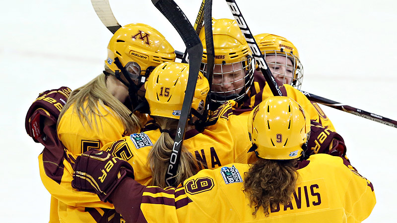 The Gophers completed the first undefeated season in NCAA women's hockey history with a 41-0 record in the 2012-13 season. Minnesota beat Boston University 6-3 in the national championship game to take home its second straight title and fourth overall.