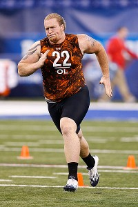 Garrett Gilkey works out at the NFL combine.