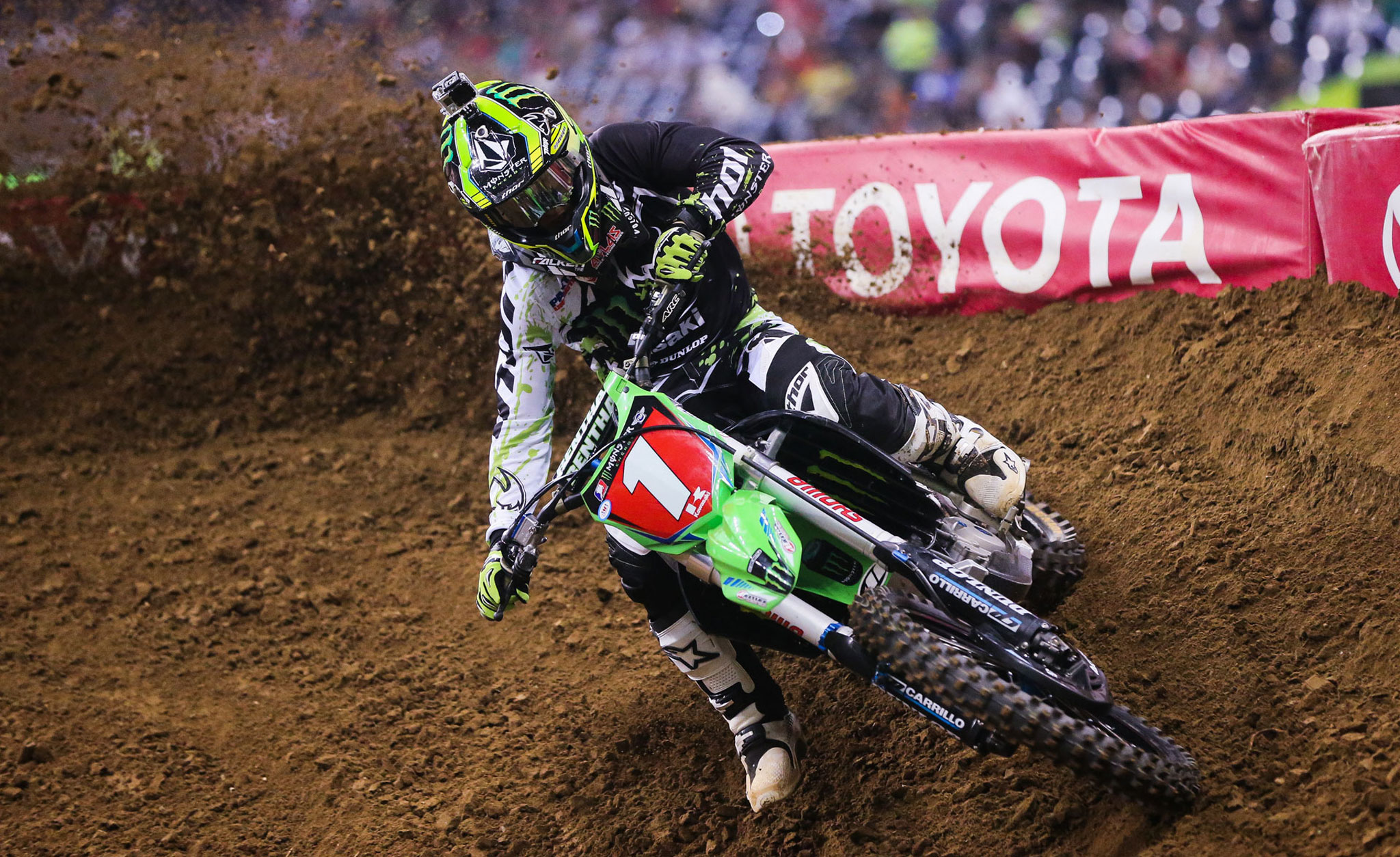 Ryan Villopoto on his way to his eighth Supercross victory of this season.