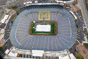 Michigan Stadium played host to an outdoor hockey game between Michigan and Michigan State in 2010.