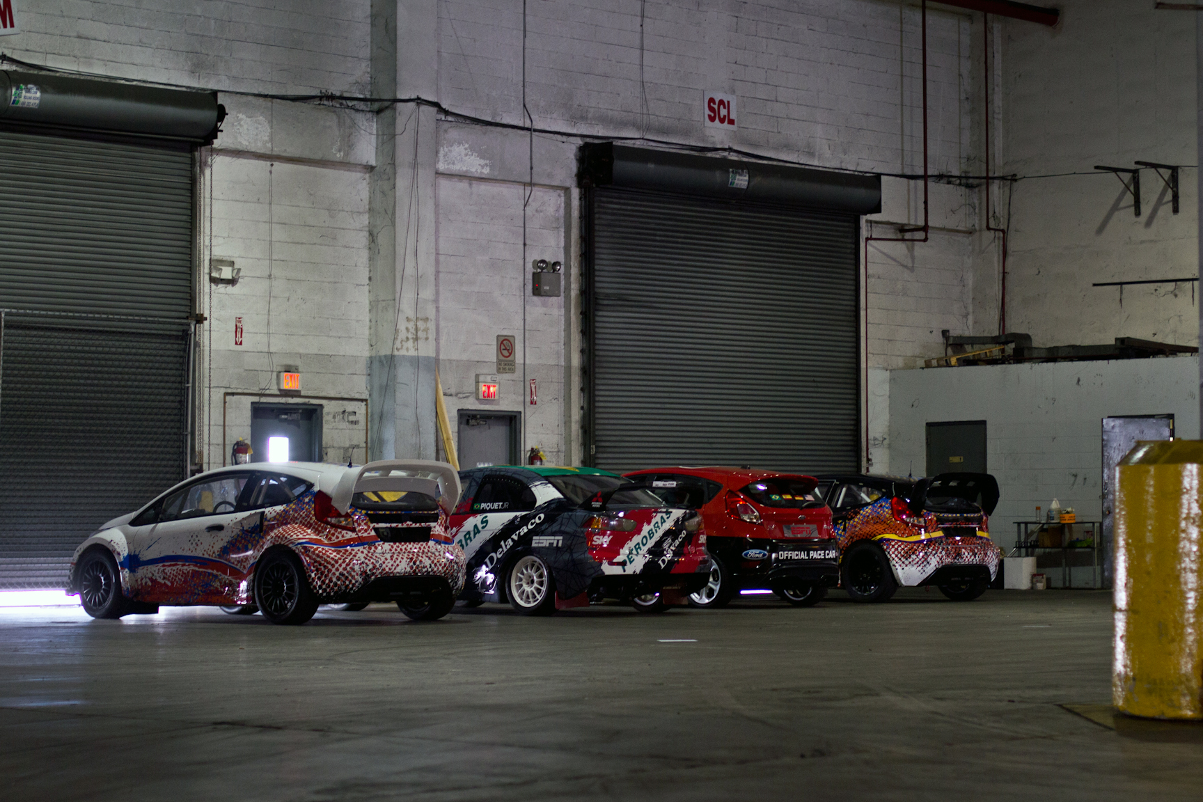 The final four cars waiting to be loaded, stacked and shipped for the X Games RallyCross competition in Foz do Iguaçu, Brazil.