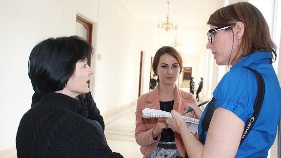 Nino Lukutashuili with her American studies professor Tamar Siradze.