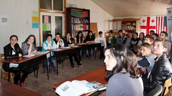 A group of students listens to me speak in Batumi.