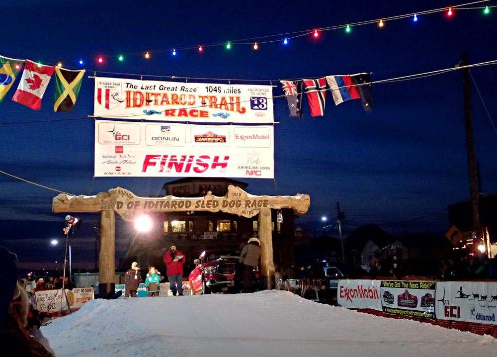 Iditarod finish line in Nome