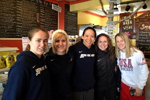 Alex Carpenter, Monique Lamoureaux, Julie Chu, Jessie Vetter and Brianne McLaughlin of Team USA take time to chill and get a bite to eat.
