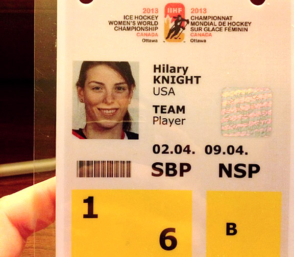 I'm always so pumped to receive my player credentials! We can't go anywhere around the rink without this.