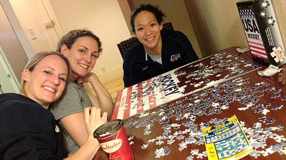 When we weren't eating, sleeping, training or playing hockey you could find us chatting it up in our treatment room/player lounge. Our team loves puzzles, and Brianne McLaughlin, Jessie Vetter and Julie Chu even did a fitting USA Hockey puzzle design.
