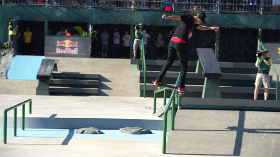 Last year's defending Street League champ Nyjah Huston wins again at Street League's X Games debut in Brazil.