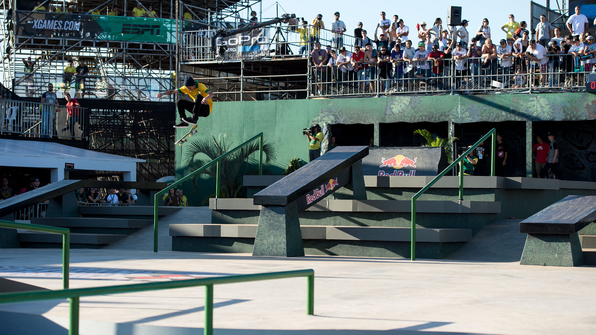 Brazilian Street League skateboarder Luan Oliveira was celebrated by the crowd at X Games Foz each time his name was announced during Street League at X Games finals. Oliveira went head to head with Street League reigning champ Nyjah Huston, and sent the crowd into a frenzy when he stomped this switch frontside flip.