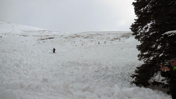 Rescuers searching the avalanche debris in Saturday's fatal slide on Colorado's Loveland Pass.
