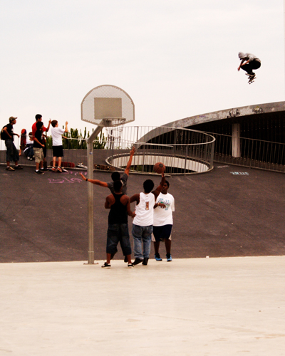 Conhuir Lynn kickflips into the key. Barcelona, Spain.