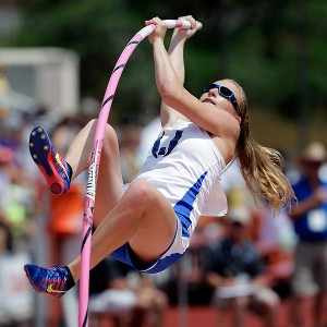 Charlotte Brown, who is legally blind, cleared 10 feet, 6 inches at the Texas state championship on Saturday.