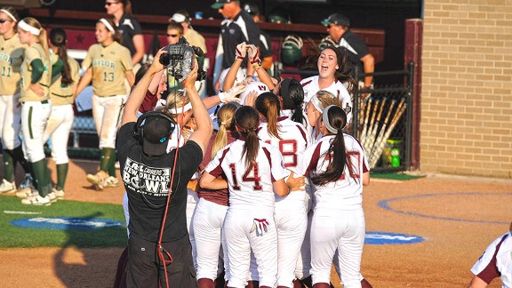 Cassie Tysarczyk and her Texas A&M teammates got to celebrate a regionals victory on their home field.