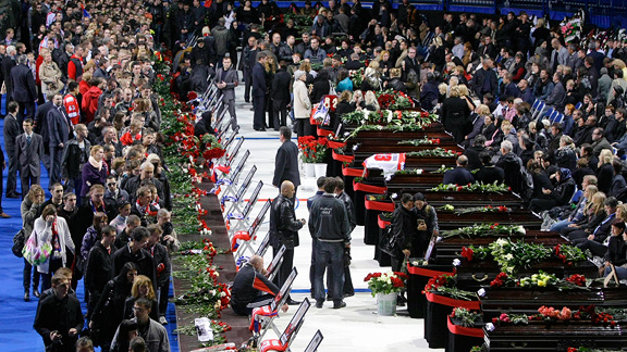 The funeral for the victims of the plane crash, which killed 43 people, including 36 players, coaches and staff of the Lokomotiv Yaroslavl hockey team, many of whom were European national team and former NHL players.