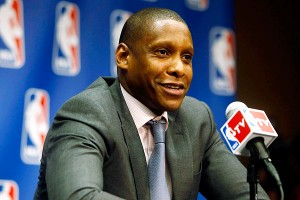 Raptors GM Masai Ujiri shouted an expletive aimed at the Nets during a fan rally Saturday.