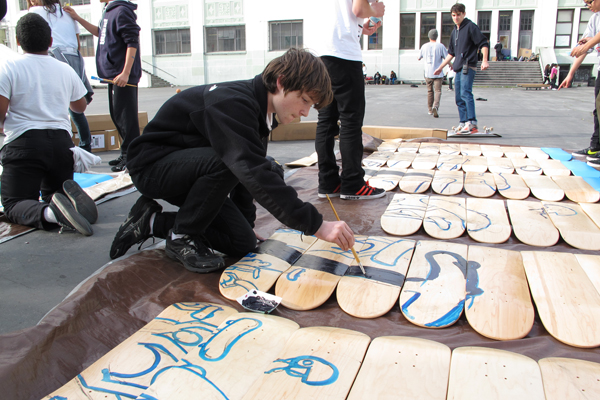 The skateboarding science trailer parklet was assembled and decorated by James Lick Middle School students, seen here.