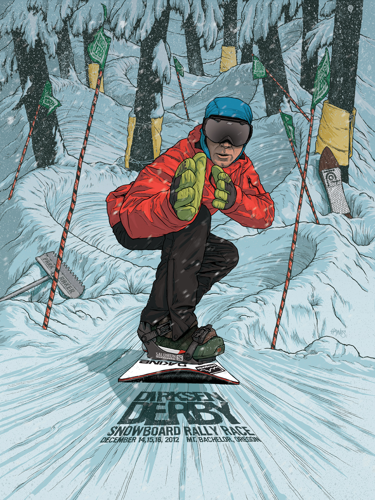 Ink, Photoshop  ~ Event poster for the 2012 Dirksen Derby, an annual banked slalom fundraising race put on by Josh Dirksen for his friend Tyler Eklund.