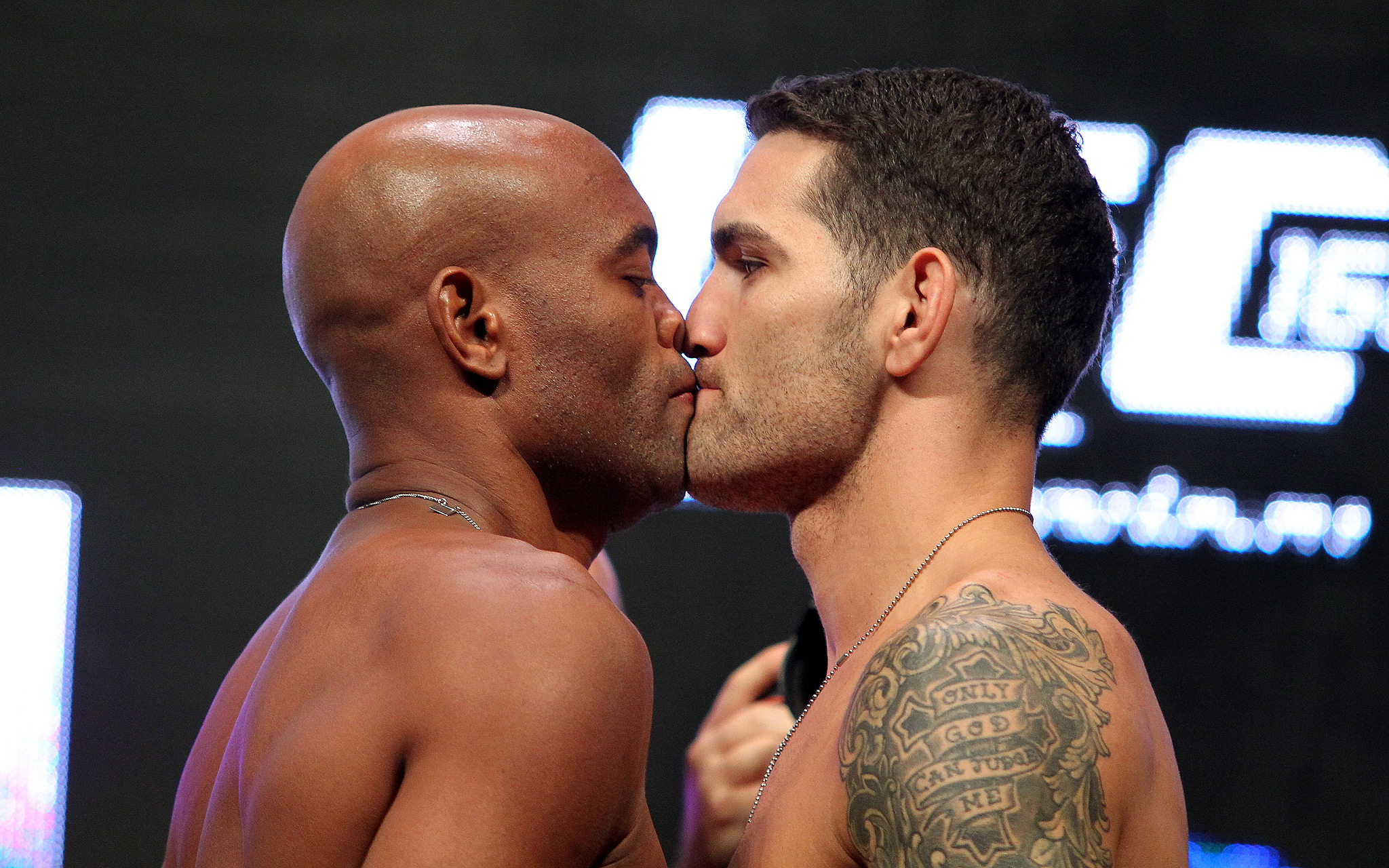 Anderson Silva and Chris Weidman during the UFC 162 weigh-in