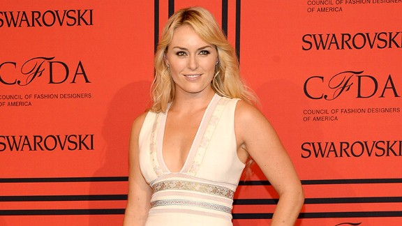 We're guessing that Lindsey Vonn may have been a tad overdressed for a random drug test.