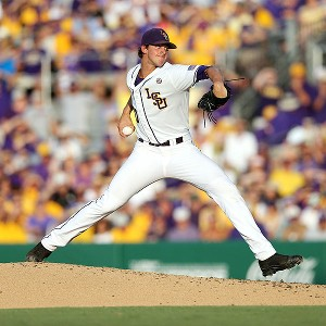 LSU pitcher Aaron Nola is 12-0 this season. He'll take the mound for the Tigers in their first College World Series game against UCLA on Sunday.