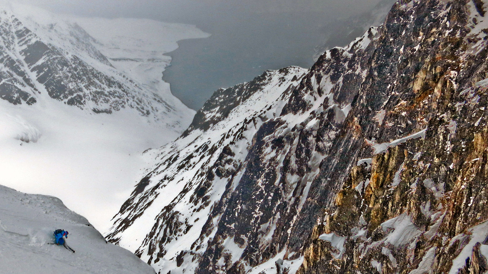 Pete Gaston shredding a first descent in Svalbard, Norway.