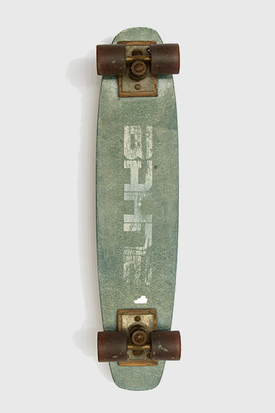 Hawk's first skateboard, a fiberglass Bahne model from 1975, was a hand-me-down from his older brother.