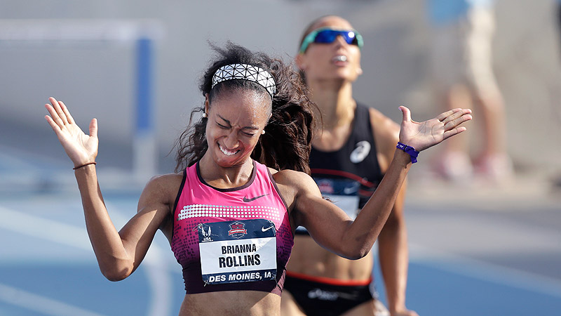 Brianna Rollins reacts in front of Lolo Jones, right, as she wins the senior women's 100-meter hurdles at the U.S. Championships on Saturday.