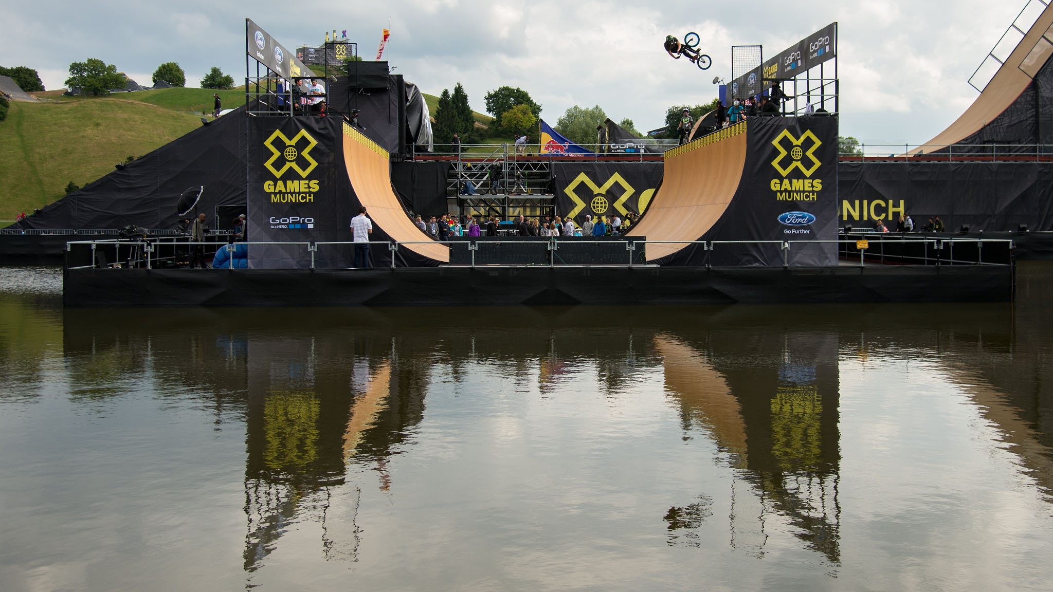 The fact that the vert ramp at X Games Munich will not be hosting a BMX Vert event hasn't kept the BMX Big Air competitors from dropping in for a few fun laps when the opportunities have presented themselves. The two ramps are located right next to each other, after all.