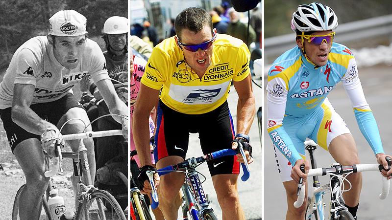 Eddy Merckx, Lance Armstrong, and Alberto Contador