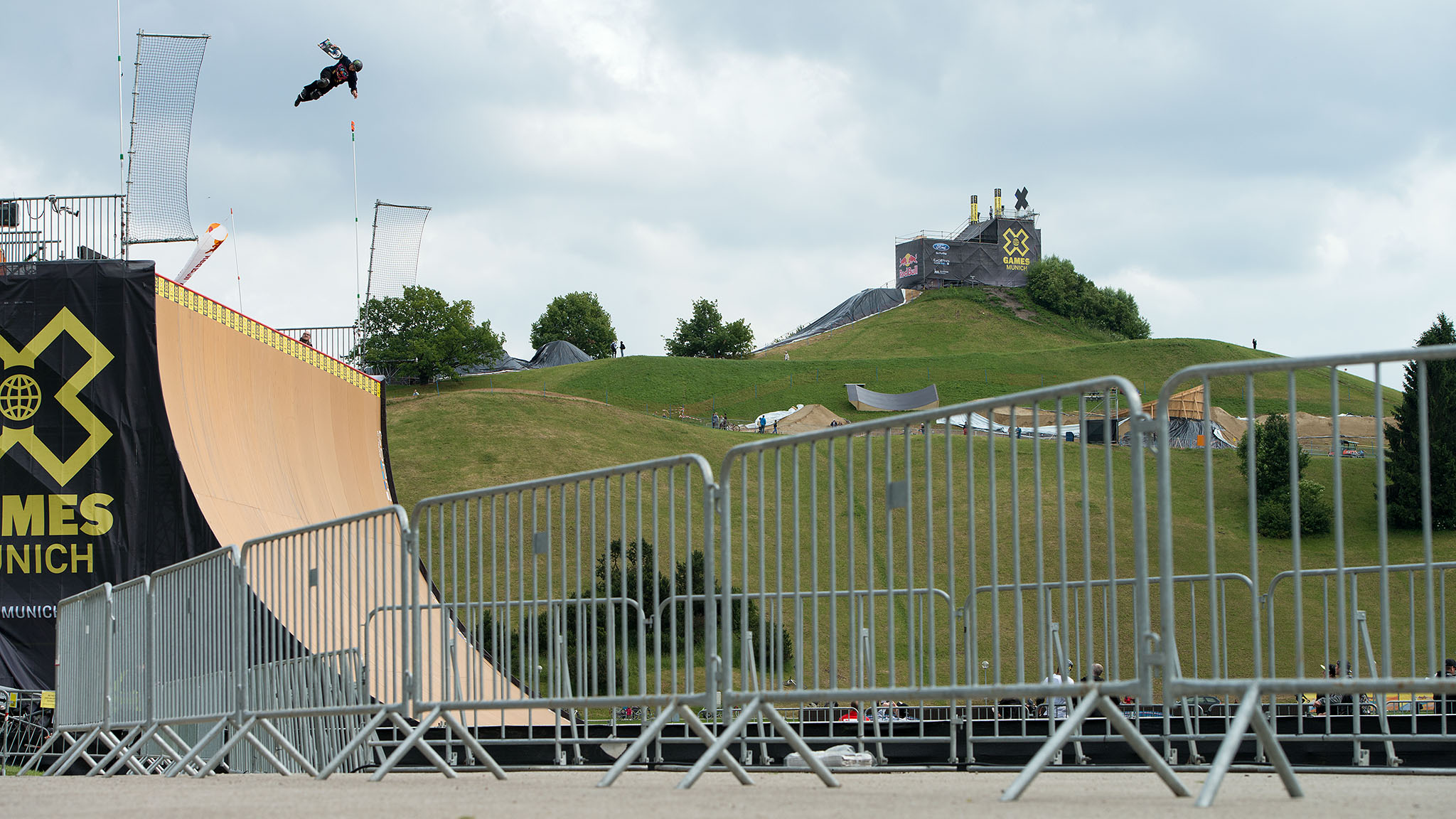 Jake Brown was knocked out during practice for Saturday's Skateboard Big Air final.