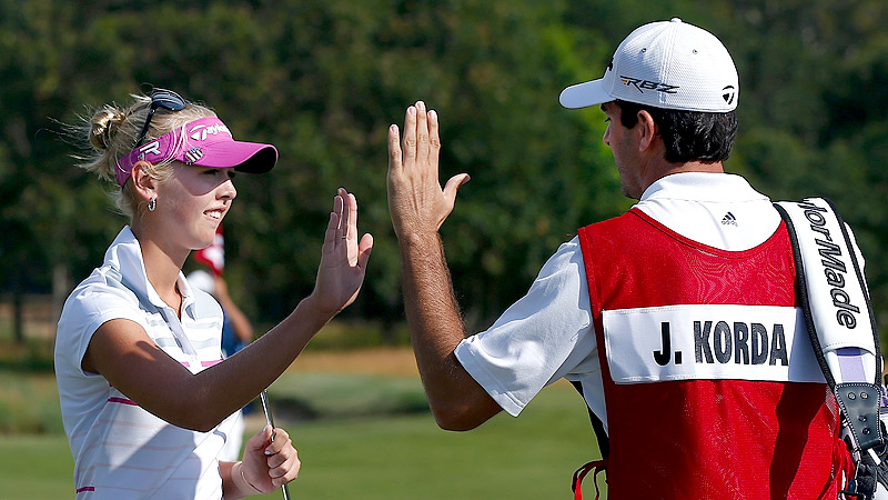 Jessica Korda's boyfriend, Johnny DelPrete, a player on the Web.com Tour, kept things light in his role as caddie.