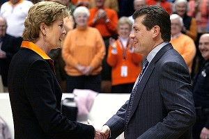 Pat Summitt (Tennessee) and Geno Auriemma (UConn) each have won eight national championships.