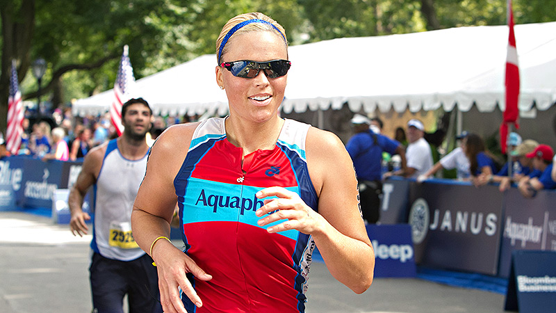Jennie Finch says her heart filled with gratitude when she saw veterans competing alongside her at the Aquaphor New York City Triathlon.