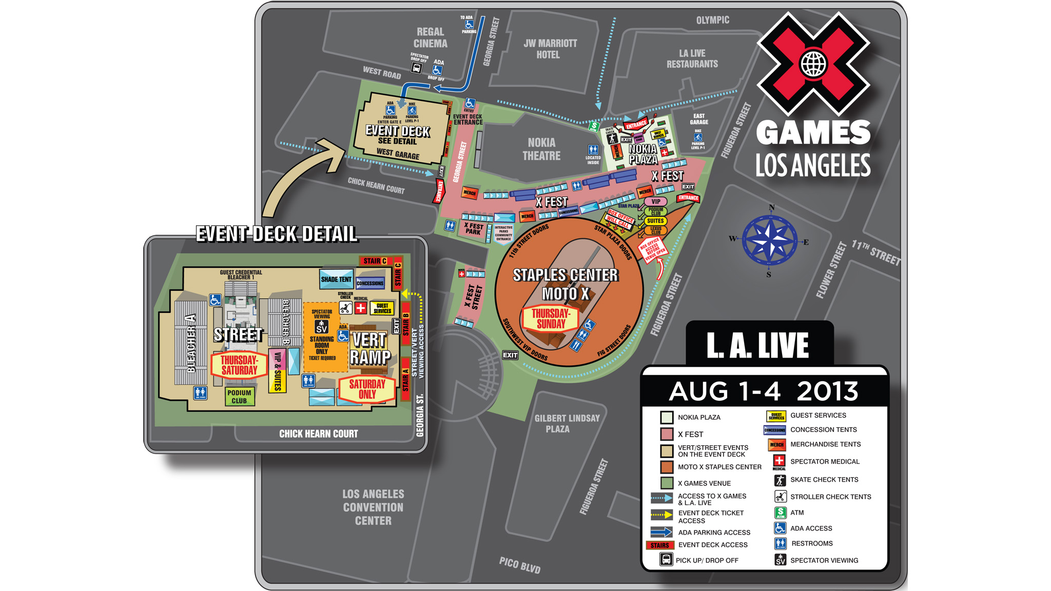 X Games Los Angeles LA Live site map